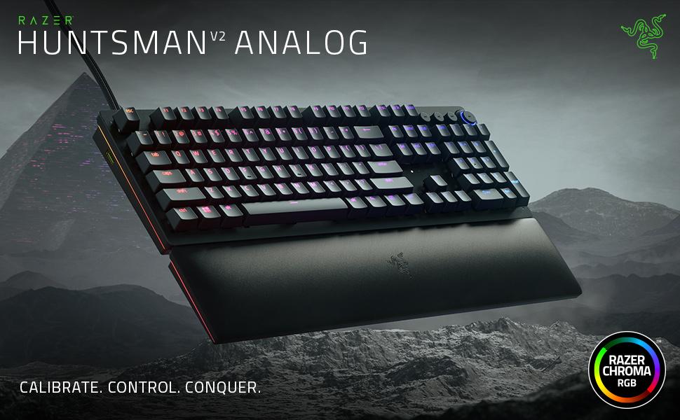Razer Huntsman V2 Analog - Teclado Premium para Juegos con interruptores ópticos analógicos (reposamuñecas, Control Giratorio Digital, 4 Teclas ...