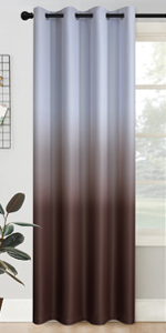Grommet Greyish White to Brown Ombre Room Darkening Ombre Curtains