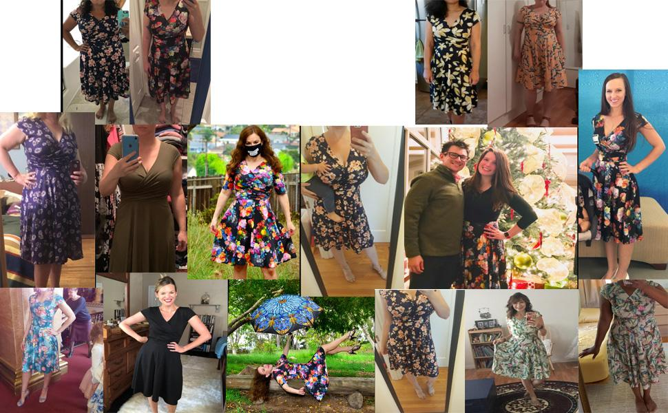 oxiuly Women's Casual Dresses Criss-Cross V-Neck Floral Flare Midi Summer Dress Party Tea DressOX233