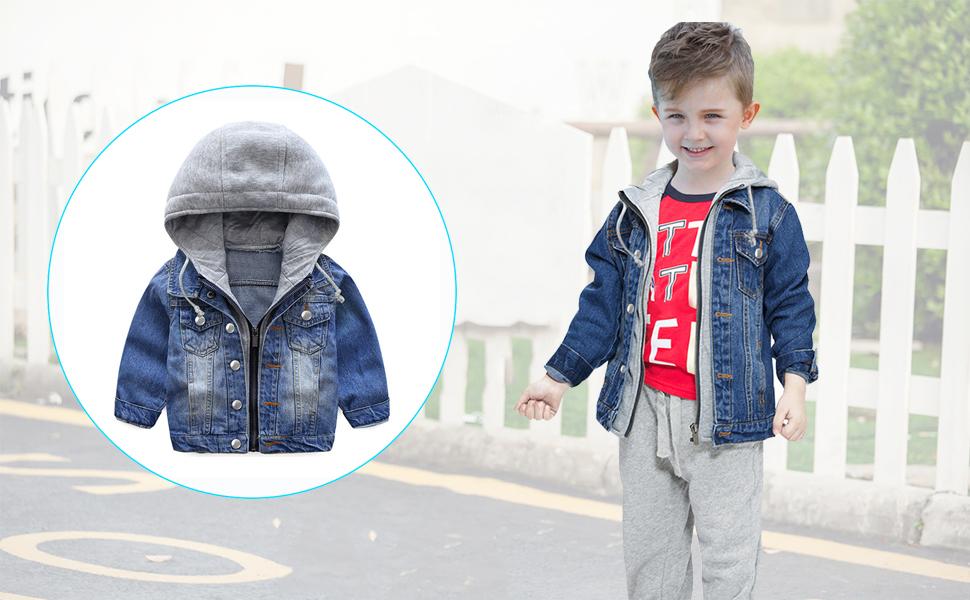 Boys Denim Hoodie Jacket Coat Causal Long Sleeve Zipper Kids Blue Jeans