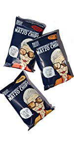 Matzo chips 6 Oz Salted, Everything, Cinnamon Sugared items by The Matzo Project