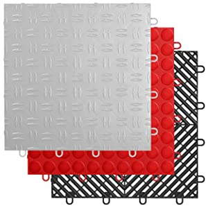 Grid-Loc Garage Tiles Gray Diamond Red Coin Black Vented Multiple Colors