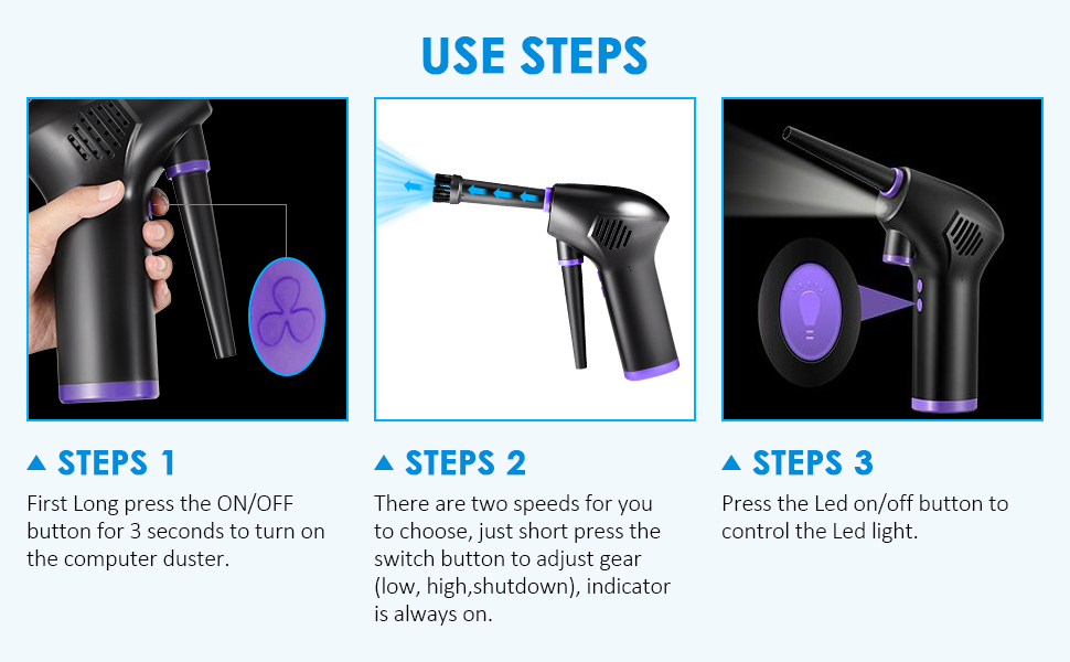 use steps of compressed air