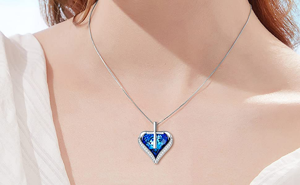 TOUPOP  Sterling Sliver  BIUE  Heart Crystal  with Cross Necklace Gift for Her