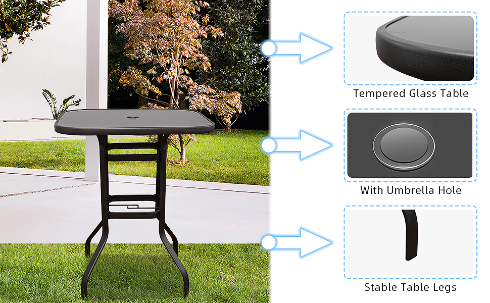 Tempered Glass Table   With Umbrella Hole  Stable Table Legs