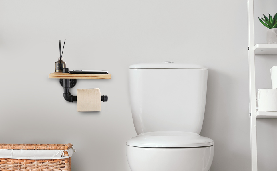 970 600 1 pipe toilet paper holder with shelf