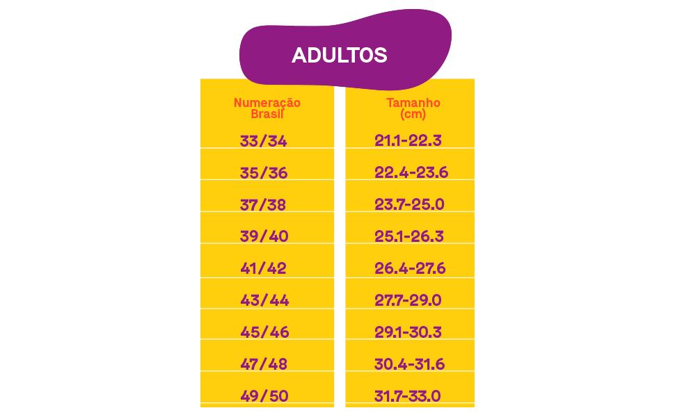 Tabela de tamanho Adulto