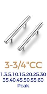 """Ravinte Cabinet Pulls Brushed Nickel Stainless Steel Cabinet Handles 6""""Length, 3.75"""" Hole Center"""