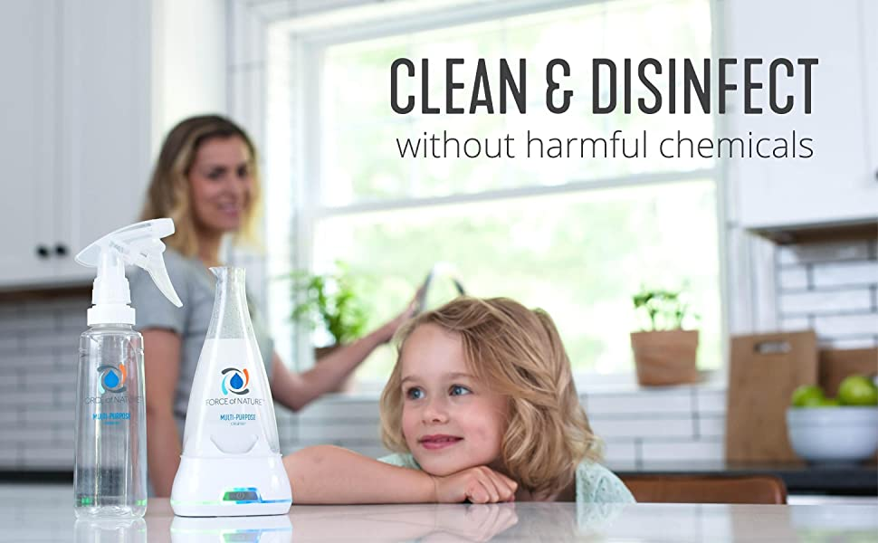 Force of Nature is an EPA registered disinfectant that cleans without harmful chemicals.