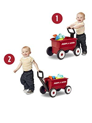 Radio Flyer 2 in 1 Red Wagon with Garden Tools