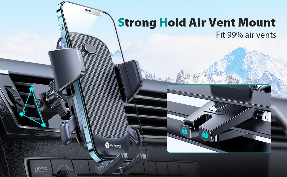 VICSEED super stable Air Vent Phone Mount Build-in Metal Sheet