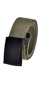 Black flip top buckle with canvas webbing belt strap