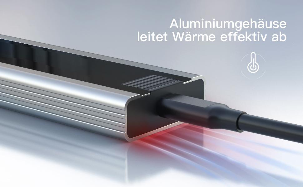 Aluminiumgehäuse leitet Wärme effektiv ab