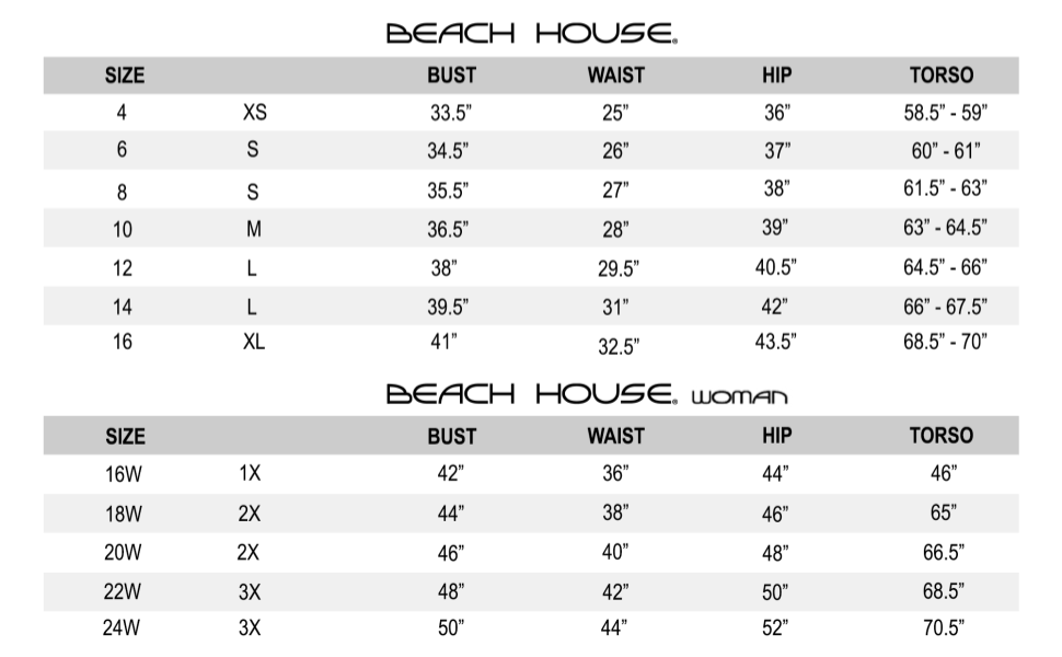 Beach House Size Chart