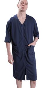 mens zipper robe
