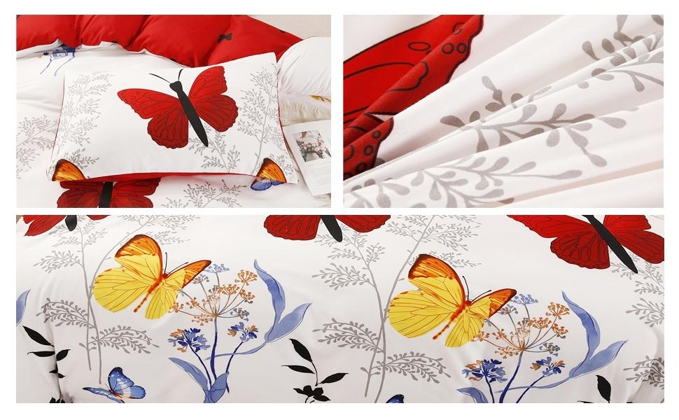 butterflies printed red yellow blue comforter quilt covers for adult twin full queen king size girls
