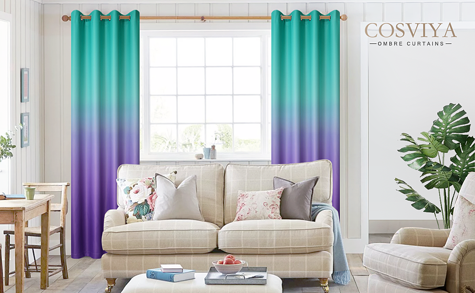 Grommet Teal to Purple Ombre Curtains