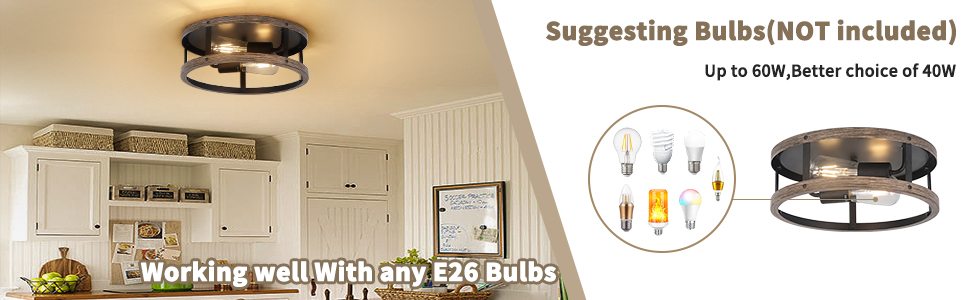E26 Flush Mount Fixture Light