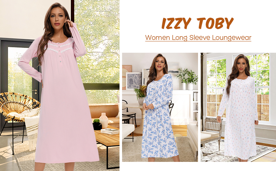 IZZY TOBY Long Sleeve Cotton Nightgowns