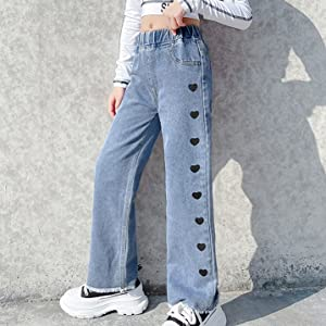 Fashion casual denim pants wide leg jeans for girls