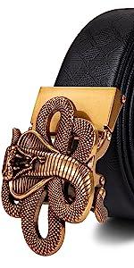 snake belt fashion buckle gold black