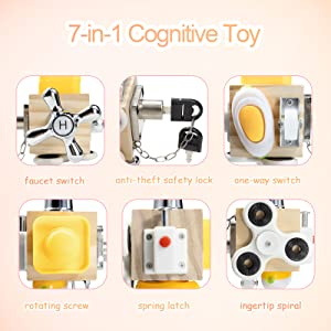Busy Board Fidget Cube Toy Wooden Activity Cubes Montessori Board Travel Toy