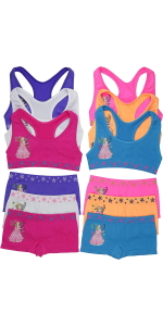 girls pack of six racerback matching sets training bras boyshorts panties