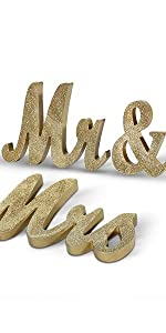 Gold Mr and Mrs Table Sign