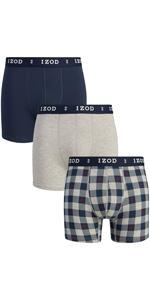 IZOD Men's Stretch Boxer Briefs Underwear, 3-Pack