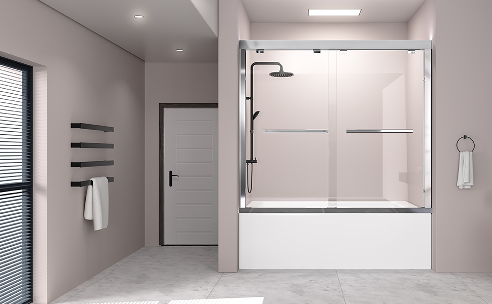 DELAVIN 56-59 in. Semi-Frameless Sliding Tub Door