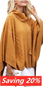 Turtleneck Batwing Sleeve Asymmetric Knitted Poncho Pullovers Sweater