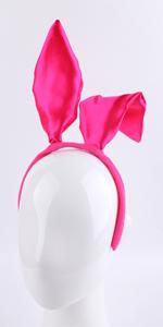 Bunny Ears Headband Satin Glitter Cosplay Party Costume Accessories (Satin Fuchsia)