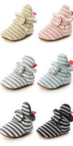 Infant Baby Boy Girl Cozy Fleece Bootie Newborn Stay On Slipper Winter Warm Shoes
