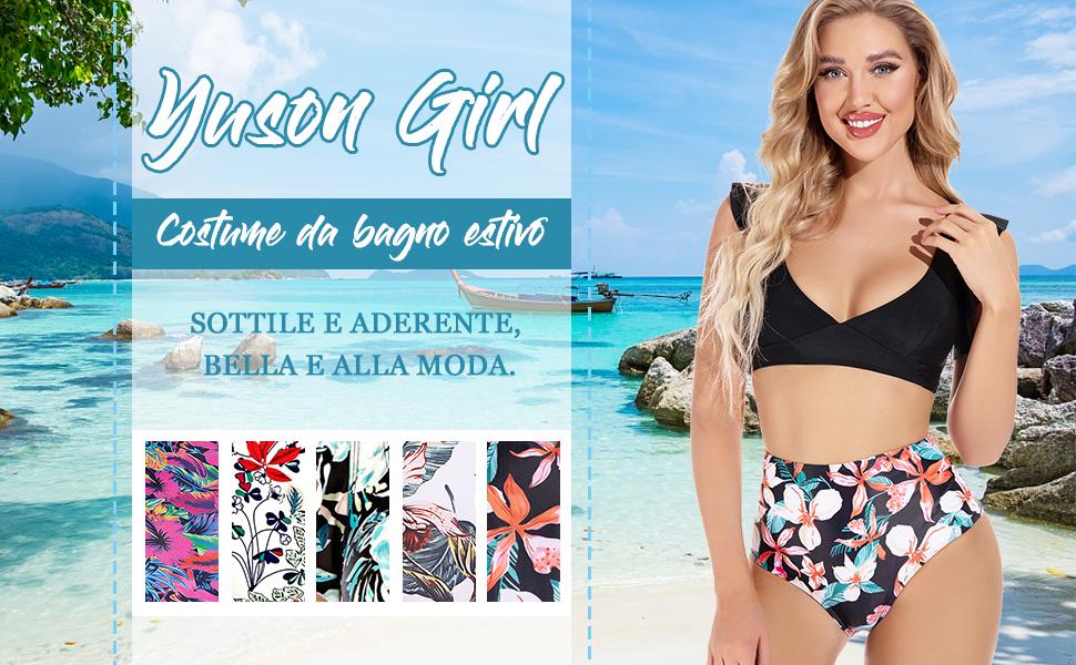 Ruffle Bandeau Floral Bikini Halter, Bikini Donna Vita Alta, Costume da Bagno