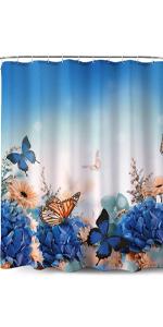 Blue Butterfly Design-Fabric Shower Curtain