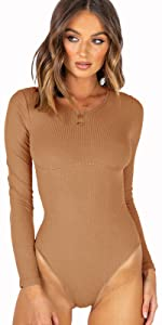 Ribbed long sleeve bodysuit