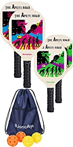 Wooden Pickleball Paddles 4 Pack with Pickleball Bag and Balls