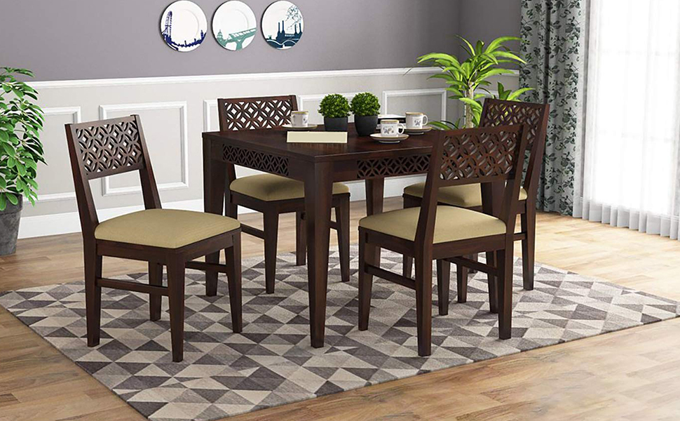SPN-JGSWoodstage Sheesham Wood Square 4 Seater Dining Table Set with 4 Cushion Chairs Wooden