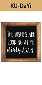The Dishes are Looking at me Dirty Again Framed Block Sign 7 x 7 inches Rustic