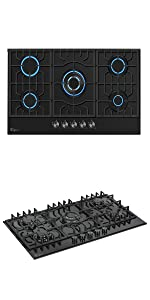 Tempered Glass 5 Italy Sabaf Burners Stove Top Gas Cooktop