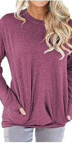 Women Casual Long Sleeve Round Neck Loose Blouses Tops
