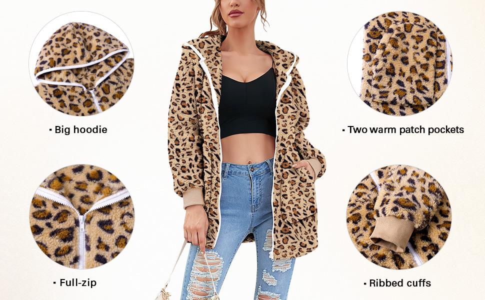 womens hooded fleece zip up jacket