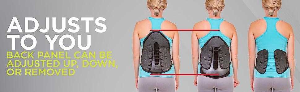 Adjustable full back brace works for upper or lower back