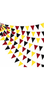 Red Black Yellow Pennant Banner Fabric Triangle Flag Cotton Bunting Garland
