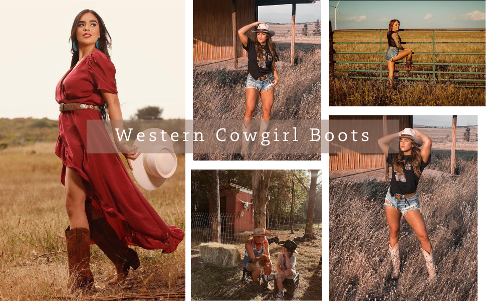 western cowgirl cowboy boots women retro western boots sunflowers embroidery mid calf western boots
