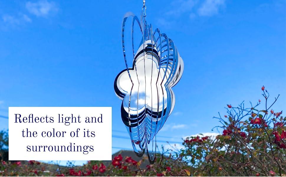 Flower wind spinner patio decor spinning wind art kinetic sculpture 3d metal wind spinner hanging