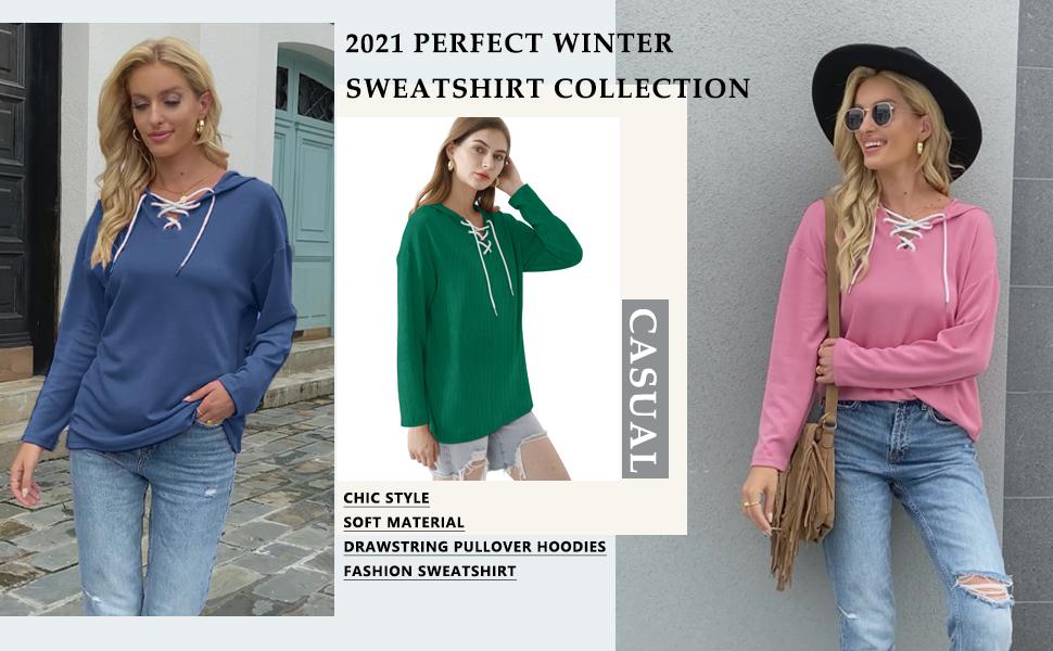 Oversized Sweatshirts for Women Long Sleeve Hoodie Pullover Trendy Tops for Leggings