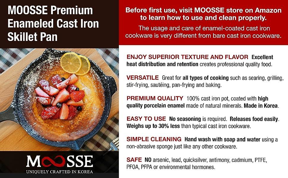 Skillet pan induction lightweight light weight enameled cast iron No Seasoning non stick non-stick