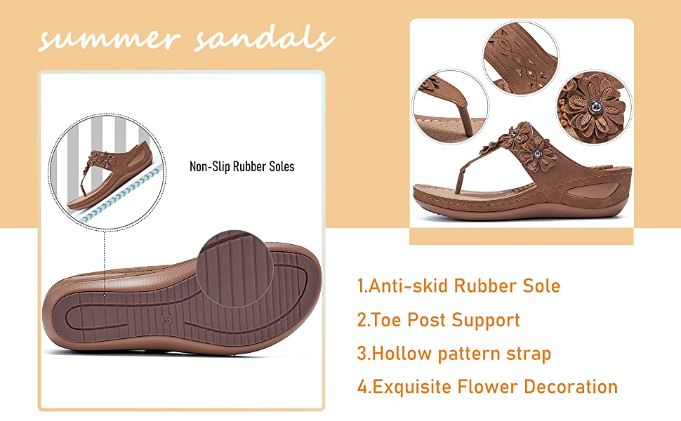 Platform Bohemia Flat Shoes Massage Function Casual Thong Sandal cute Flower Clip Toe shoes