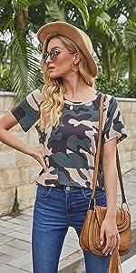 Women's Short Sleeve Camouflage Print Tunic Tops Casual Irregular Hem T-Shirts